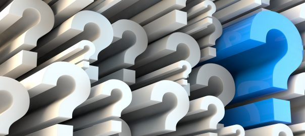 Blue and white question mark banner
