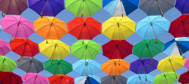 Various coloured umbrellas