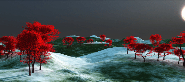 Red trees in snowy field